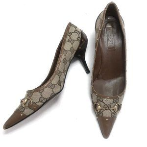 "Auc Gucci monogram studded 3"" heel shoes"